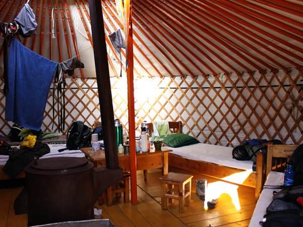 Exempel på ger-tält invändigt