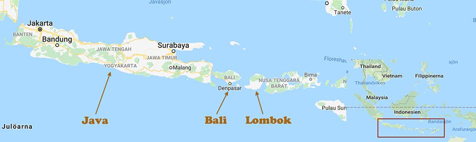 Karta över Java, Bali och Lombok med de olika öarna noterade.